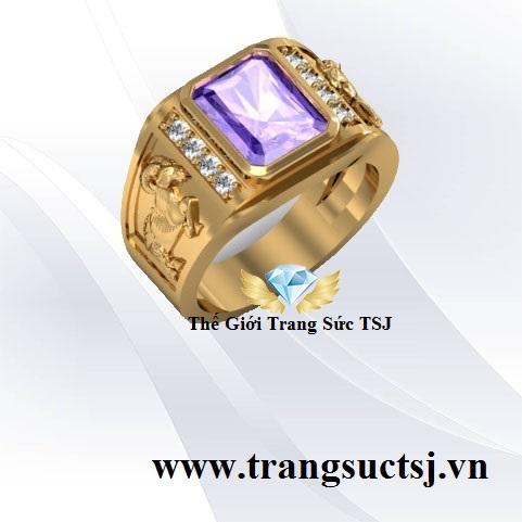 Nhẫn Nam Thạch Anh Tím Vàng 18k