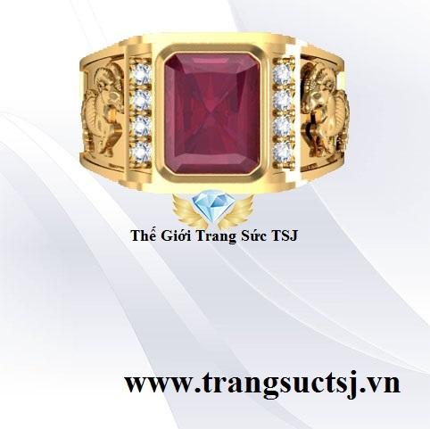 Nhẫn Ruby Đỏ Cho Nam Trang Sức Phong Thủy