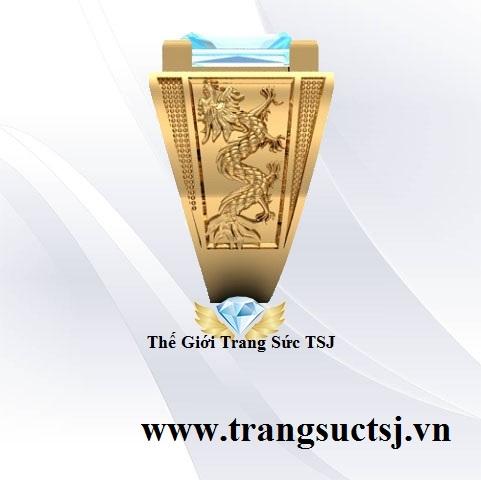 Nhẫn Vàng 18k Nam Đẹp Đá Topaz Xanh Hiện Đại