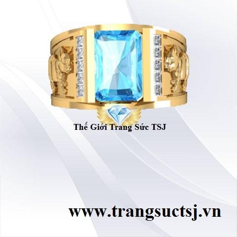 Nhẫn Vàng Nam Sang Trọng Mặt Đá Toapz Xanh