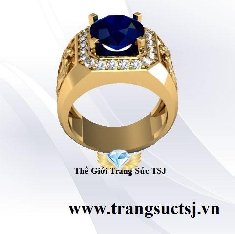 Nhẫn Vàng Nam Sapphire Xanh Bích Khắc Hình Con Giáp