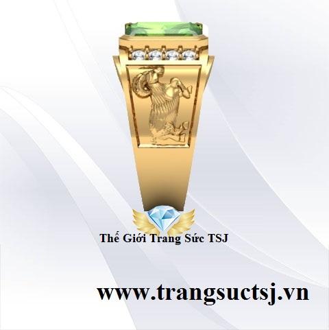 Nhẫn Vàng Tây Nam Đẹp Đính Đá Sapphire Xanh Lá