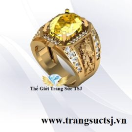 Nhẫn Long Phụng Vàng 18k Nam Đá Sapphire Vàng