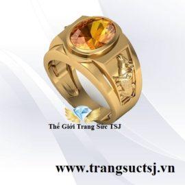 Nhẫn Nam Citrine Vàng Hợp Mệnh Kim - Thế Giới Trang Sức TSJ - 387 Trần Hưng Đạo