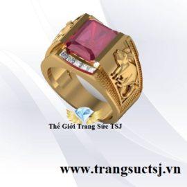 Nhẫn Nam Đá Ruby Đỏ Khắc Hình Chuột Đẹp Trang Sức TSJ