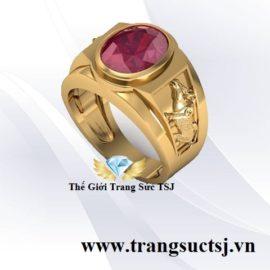Nhẫn Đá Ruby Đỏ Khắc Hình Sửu - Trang Sức TSJ