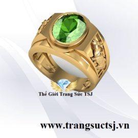 Nhẫn Nam Đá Sapphire Xanh Lá Theo Tuổi Hợp Phong Thủy