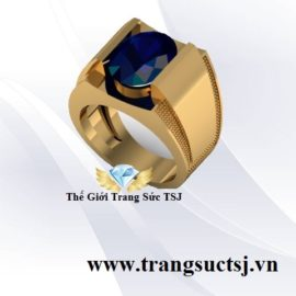 Nhẫn Nam Hiện Đại Mặt Đá Sapphire Xanh Bích