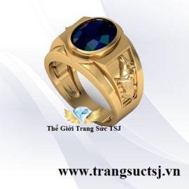 Nhẫn Nam Hình Sửu Mặt Đá Sapphire Xanh Bích Hợp Mệnh Mộc