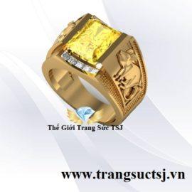 Nhẫn Nam Hợp Mệnh Kim Mặt Đá Sapphire Vàng