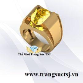 Nhẫn Nam Mệnh Kim Đẹp Đính Đá Sapphire Vàng