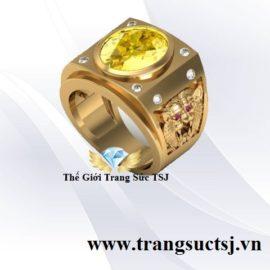Nhẫn Nam Thời Thượng Mặt Đá Sapphire Vàng