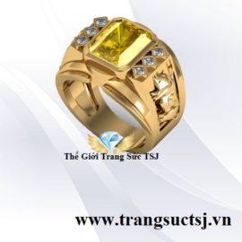 Nhẫn Nam Tuổi Hợi 1971 Mệnh Kim Mặt Đá Sapphire Vàng