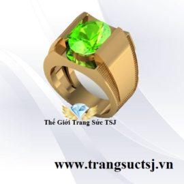 Nhẫn Nam Vàng 18k Đá Peridot Trẻ TRung