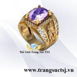 Nhẫn Vàng Nam Rồng Phụng Đá Thạch Anh Tím
