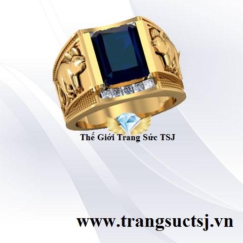 Nhẫn Đá Quý Nam Đẹp Mặt Đá Sapphire Xanh Bích