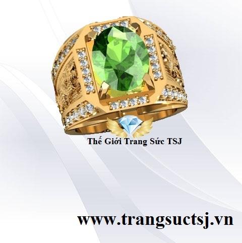 Nhẫn Mặt Đá Sapphire Xanh Lá Đẹp Cho Phái Mạnh
