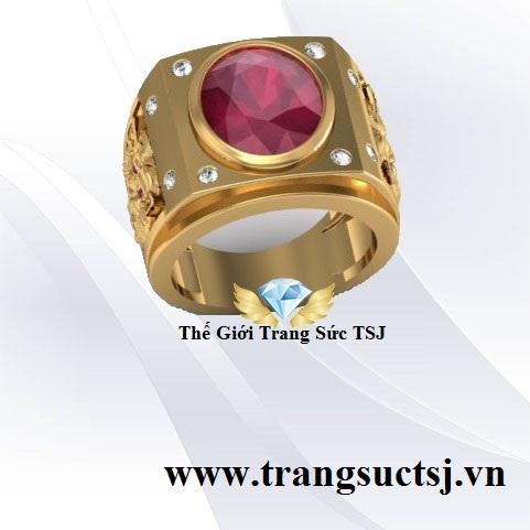 Nhẫn Nam Cọp Đẹp Mặt Đá Ruby Đỏ
