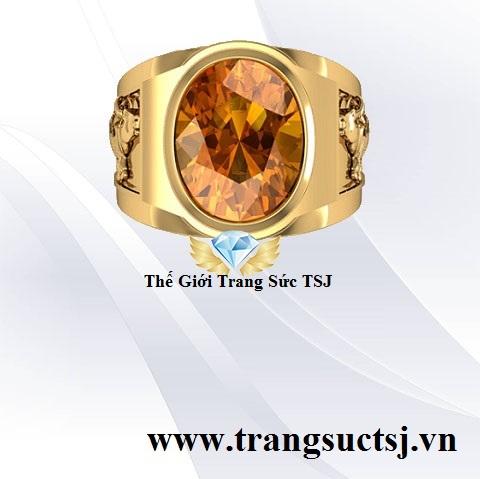 Nhẫn Nam Đá Citrine Vàng Lịch Lãm