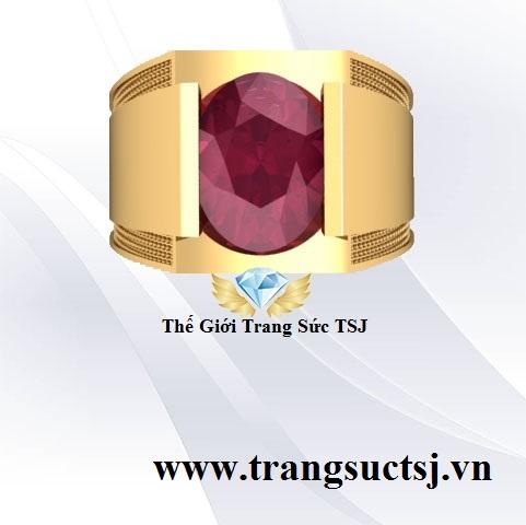Nhẫn Nam Đá Oval Phong Thủy Vàng 18k