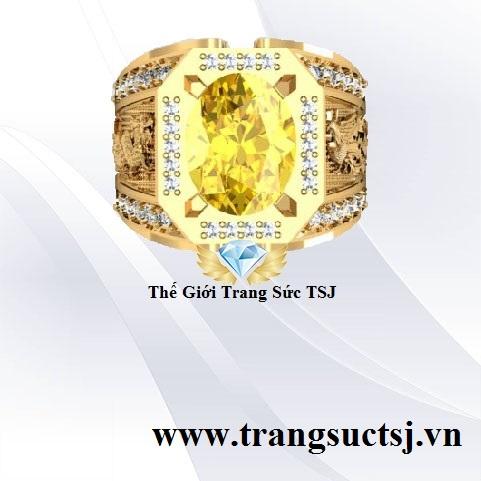 Nhẫn Nam Đá Oval Sapphire Vàng Đẹp