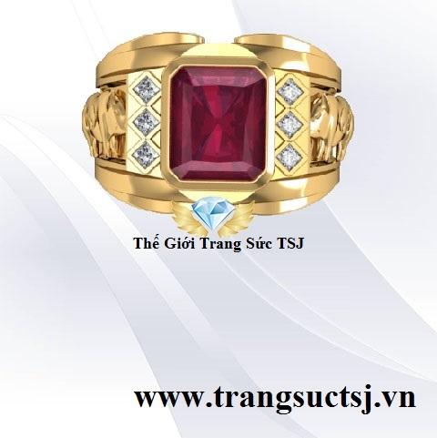 Nhẫn Nam Đá Ruby Đẹp - Trang Sức Vàng 18k