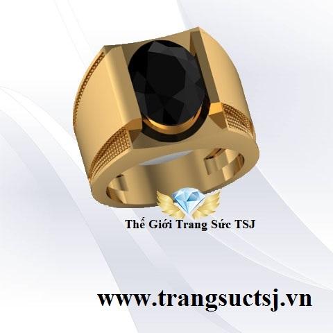 Nhẫn Nam Đá Sapphire Đen