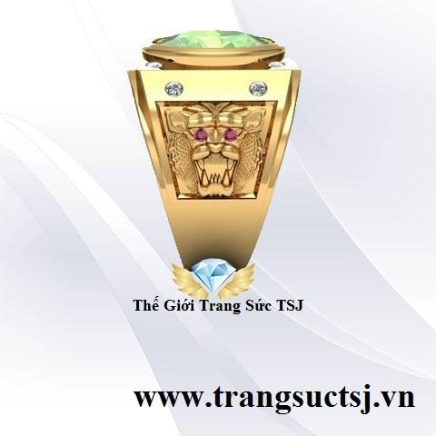 Nhẫn Nam Đá Sapphire Xanh Lá