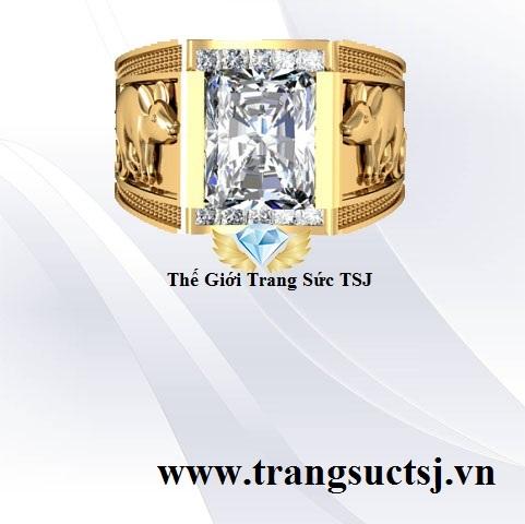 Nhẫn Nam Đá Topaz Trắng Đẹp Vàng 18k