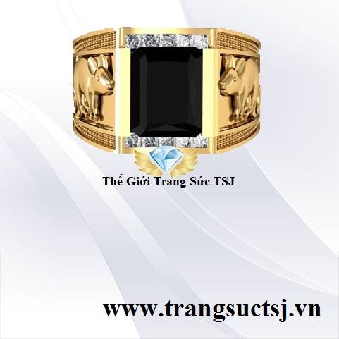 Nhẫn Nam Hình Chuột Mặt Đá Sapphire Đen