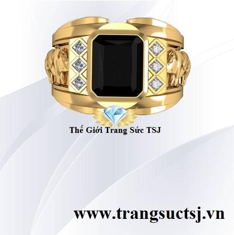 Nhẫn Nam Mặt Đá Sapphire Đen - Thế Giới Trang Sức TSJ