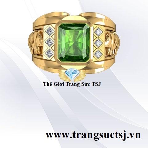 Nhẫn Nam Mặt Đá Sapphire Nam Cao Cấp