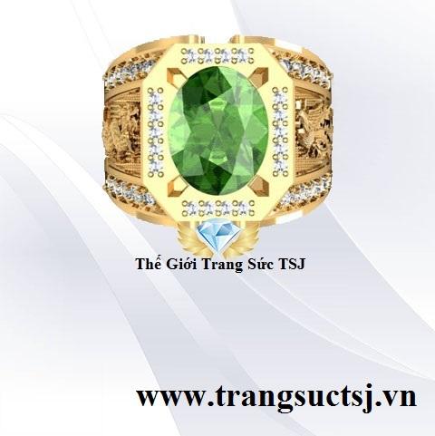 Nhẫn Nam Phong Thủy Đá Sapphire Xanh