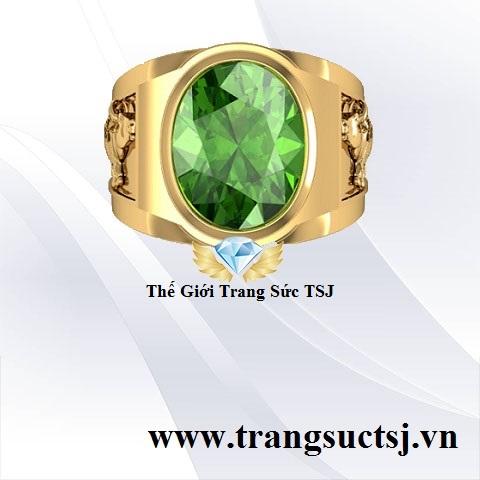 Nhẫn Nam Phong Thủy Hình Sửu Đá Sapphire