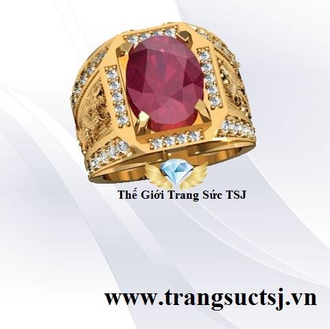 Nhẫn Nam Rồng Phụng Mặt Đá Ruby Oval