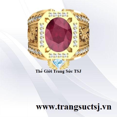 Nhẫn Nam Ruby Sang Trọng Hình Rồng Phụng