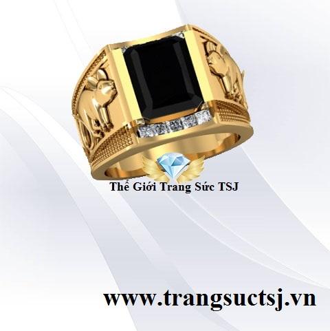 Nhẫn Nam Sapphire Đen Thời Thượng