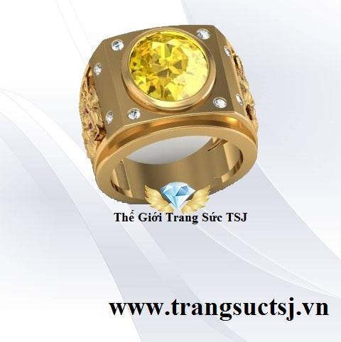 Nhẫn Nam Sapphire Vàng Sang Trọng TSJ