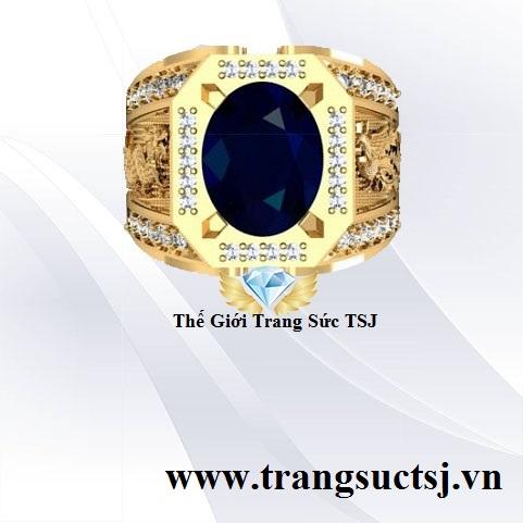 Nhẫn Nam Sapphire Xanh Bích Khắc Rồng Phụng