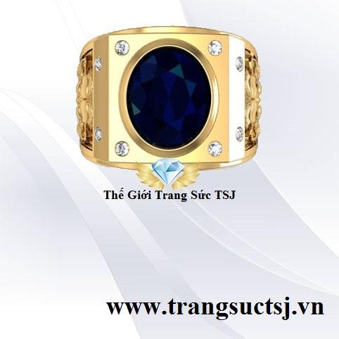 Nhẫn Nam Sapphire Xanh Bích Hợp Phong Thủy