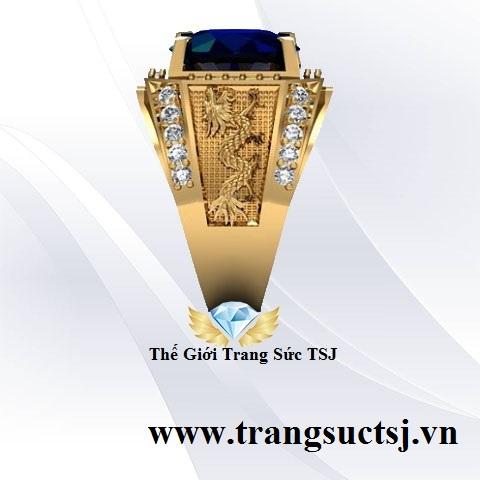 Nhẫn Nam Sapphire Xanh Bích
