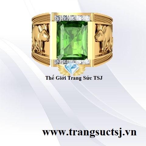 Nhẫn Nam Sapphire Xanh Chuối Khắc Hình Chuột