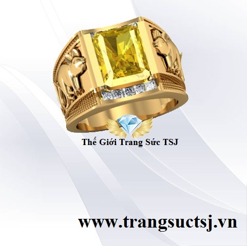 Nhẫn Nam Tuổi Chuột Mệnh Kim Đá Sapphire Vàng
