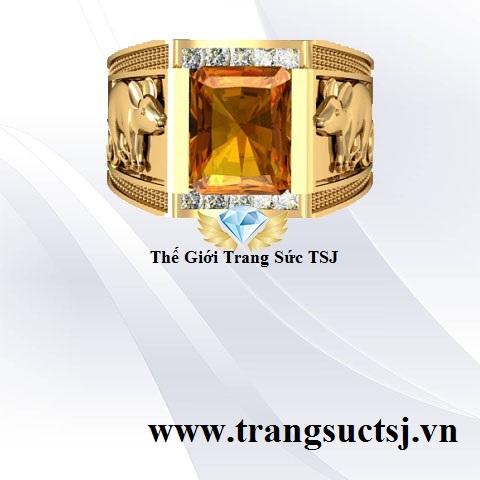 Nhẫn Nam Vàng 18k Đẹp Mặt Đá Citrine Vàng