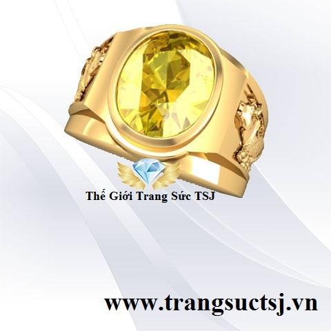 Nhẫn Nam Vàng 18K Sapphire