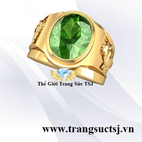Nhẫn Sapphire Xanh Nam Khắc Hình Con Giáp