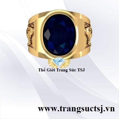 Nhẫn Vàng Tây 18K Nam Đẹp Mặt Đá Sapphire