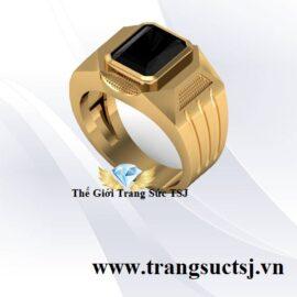 Nhẫn Nam Đá Sapphire Đen Mẫu Đơn Giản