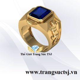Nhẫn Nam Sapphire Xanh Bích Cho Nam Tuổi Mão