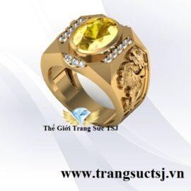 Nhẫn Nam Tỳ Hưu 18k Đá Sapphire Vàng